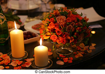 Romantic Candles and Bouquet