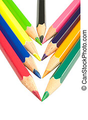 color pencil - Assortment of coloured pencils with shadow on...