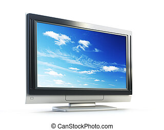 Plasma TV - 3d rendering plasma TV on white background