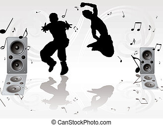 dance music pair - couple of youths dancing against a silver...