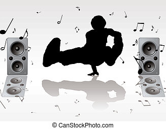 dance music pose with two speakers and musical notes