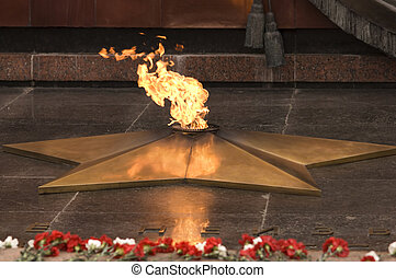 eternal flame - the Unknown Warrior memorial in Moscow,...