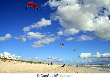Kite surfers on beach Cape Town