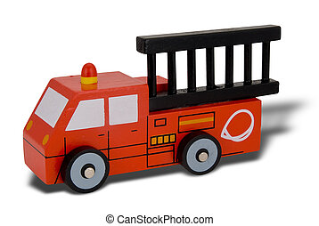 Toy wood firetruck isolated over white with a clipping path
