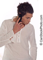 Making a call - Young man using his mobile phone and talking