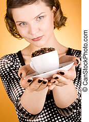 girl with a coffee cup - fashion girl with a coffee cup