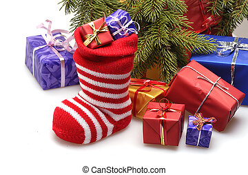 christmas stocking and presents - christmas stocking and...