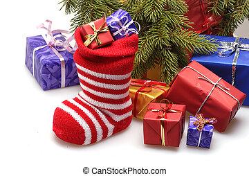 christmas stocking and presents - christmas stocking and...