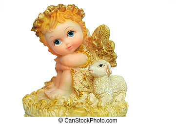 Angel - Porcelain baby angel with sheep