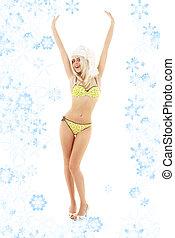 santa helper blond on high heels with snowflakes - santa...