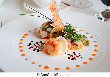 Food - Starter or Entree of a french dish with seafood mixed...