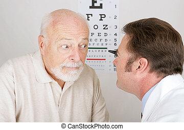 óptico, serie, -, ojo, examen