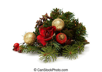 Christmas decoration - Colorful bulbs, spruce and other...