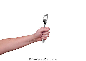 Fork in hand - Fork held by a womans hands isolated over...