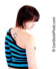 Brunette Rocker Girl - Portrait of a young brunette rocker...