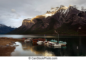 Minnewanka lake - Boats on Minnewanka lake, Banff national...