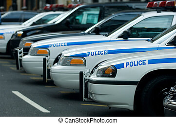 NYPD station - Police cars in Manhattan in front of the...