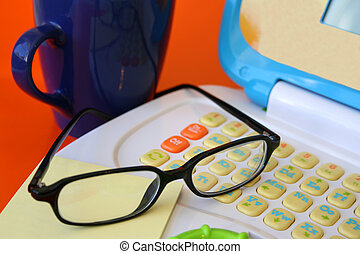 Kiddies Office - Junior Laptop with glasses and post-it...