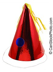 Christmas party hat - A shiny red party hat with blue circle...