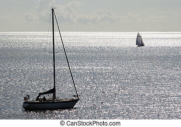 Sailing boat moored in a shinning sea