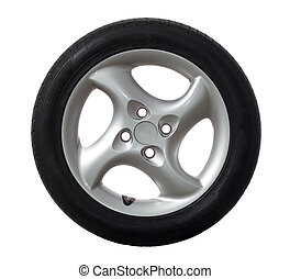 Car wheel - A photo of modern car rim isolated over white.