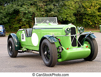 green race car - bright green classic race car