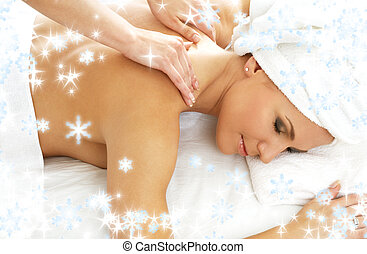 massage with snowflakes 2 - christmas picture of lovely lady...