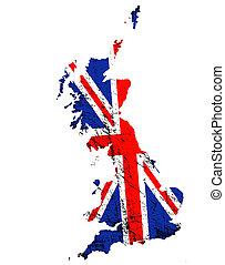 Old Britain - Outline of Great Britain with grunged Union...