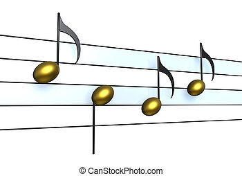 Golden Notes as symbol for music and sound