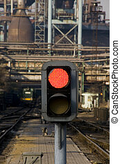 RAILWAY SIGNAL - Railway signal gantry showing a red light