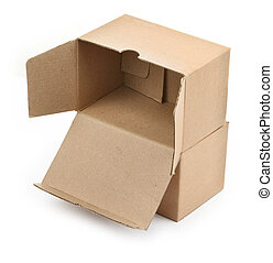 two cardboard boxes against white background, small natural...