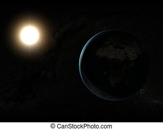 sun and earth - 3d rendered illustration of the sun and the...