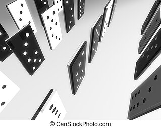 domino field - 3d rendered illustration of a domino field