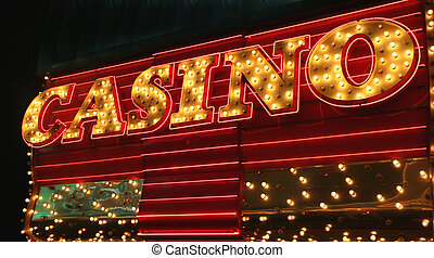Casino Sign - An old fashioned light bulb sign saying casino