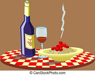 y, Espaguetis, vino