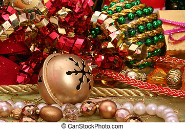 Christmas Decorations - Christmas Ornaments With Ribbons and...