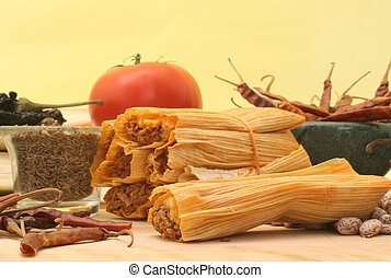 Mexican Food - Tamales With Red Peppers and Pinto Beans on...