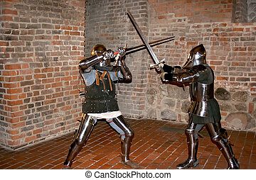 Knights in an old cellar. Royal castle in Warsaw.