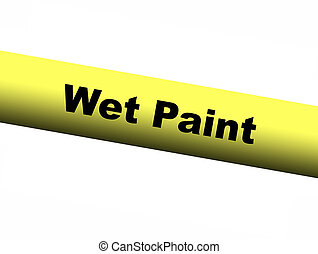 Wet Paint Yellow Barrier Tape