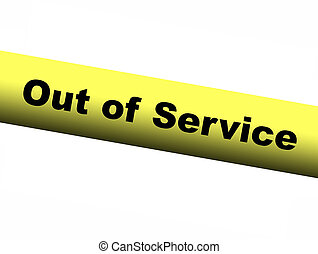 Out of service Yellow Barrier Tape