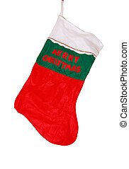 christmas stocking with clipping path,
