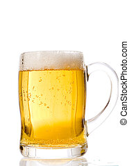 Beer series - A photo of beer into glass. Over white.