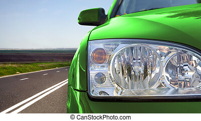 Greate car - Green car on the road
