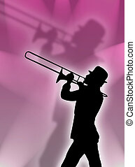 Trumpet in the lights - Trumpet player silhouette in the...
