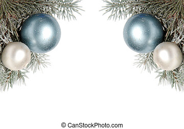 Snowy christmas decoration - White and blue bulbs covered...