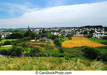Town of Carnac in Brittany - Scenic view from a hilltop on...