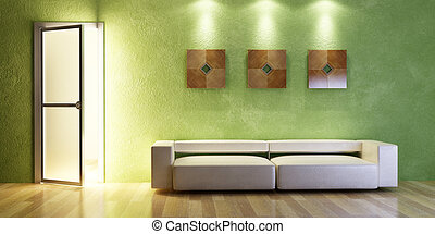 modern couch 3D rendering - the modern couch beside the wall...