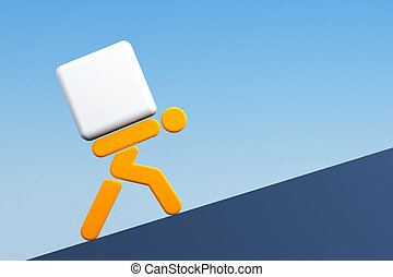 man carrying the load - 3d rendering the symbolic man with...