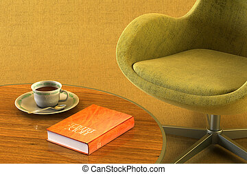 lounge room with table and bible - 3d rendering scene of the...