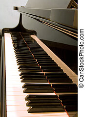 Keyboard of a piano - Close-up view of the keyboard of a...